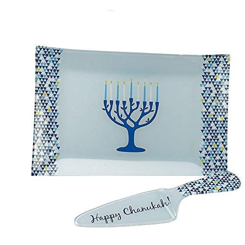 Rite Lite Chanukah Tray/Server Set Tree of Life Hannukah Menorah , 12.25'' Blue/White Hanukkah Serving Tray