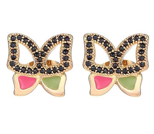 ❤ Geschenk Frau, Geschenk Jahrestag, Geschenk Geburtstag Frau Frau ❤ Ohrringe vergoldet bölbo ® Rhoda schwarz gold Schmetterling