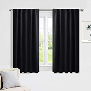 PONY DANCE Nursery Blackout Curtains - Thermal Insulated Panels Set Window Back Tab/Rod Pocket Light Blocking Curtain Drapes for Bedroom, 42-inch Wide by 54-inch Long, Black, 2 Pieces