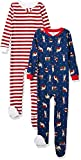 Amazon Essentials Toddler Boys Snug-Fit Cotton Footed Sleeper Pajamas, 2-Pack Holiday Critter/Stripe, 3T