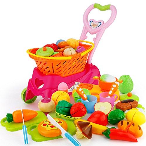 JoyGrow 31 Piezas Cortar Alimentos Juguete Supermercado Carrito de Compras Juguetes con Frutas y Verduras, Juego de rol Cocina Alimentos Accesorios Regalo para Niños Niñas