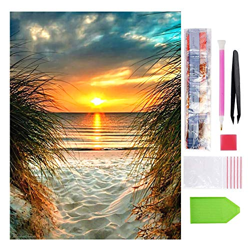 5D Diamond Painting Kits for Adults, Full Round Drill Rhinestone Diamond Embroidery Paintings, Arts Craft Supply for Home Wall Decor, 12x16 inch(Seaside Sunset)