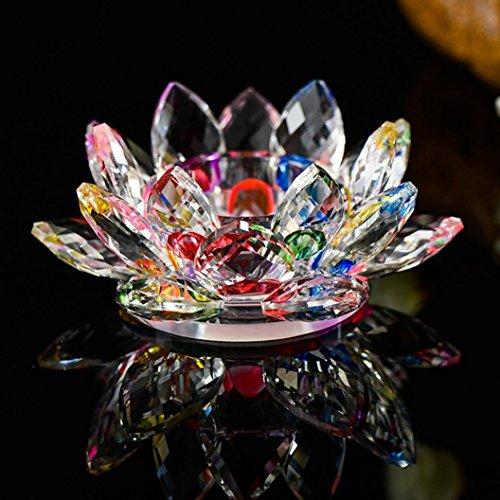 ALeis Kerzenständer 7 Farben Kristallglas Lotusblüte Kerze Teelichthalter Buddhistische 7 Farben Kristallglas Lotusblume Kerze Teelichthalter Buddhistischer Kerzenständer (C)