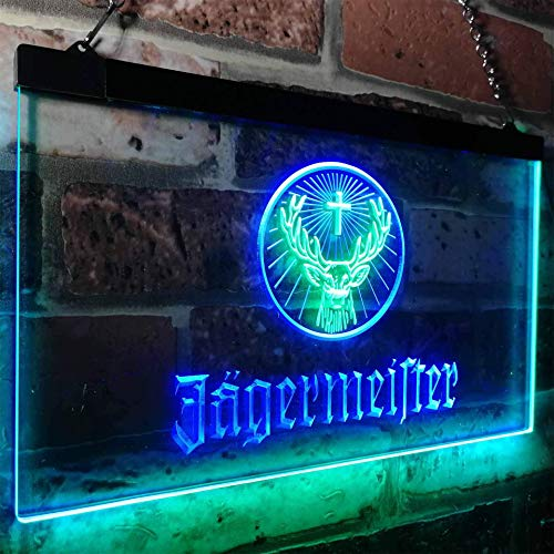 zusme Jagermeister Deer Drink Bar Novelty LED Neon Sign Green + Blue W40cm x H 30cm