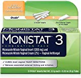 Monistat 3 Vaginal Antifungal 3 Day Treatment Ovule Inserts Dual Action System Combination Pack