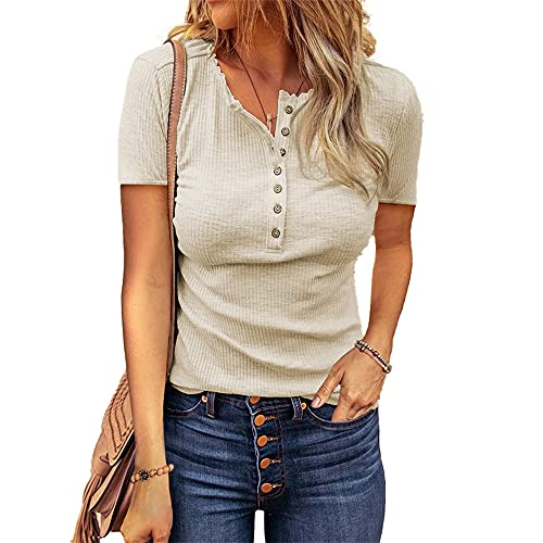 Mayntop Camiseta para mujer de verano, otoño, liso, acanalada, de manga corta, sin mangas, con cuello en V, A-Beige, 38