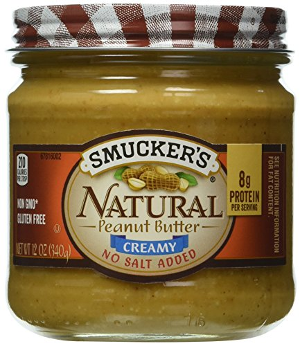 Smucker's Natural No Salt Added Creamy Peanut Butter, 12-Ounce Glass Jars (Pack of 6)