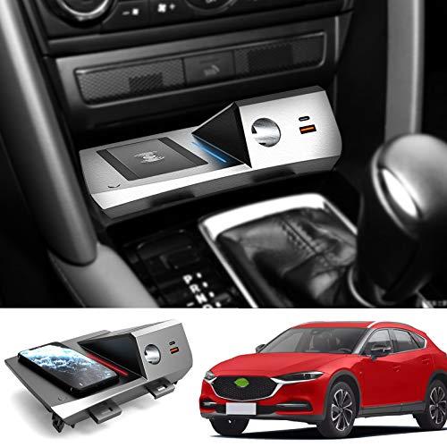 AWYLL Cargador de Coche inalámbrico para Mazda CX-4 2020 2021, 15W QC3.0 Cargador de teléfono de Carga rápida con Puertos USB de 18W y Puerto PD de 18W para iPhone 12 Pro MAX Mini 11 / XS MAX/XR / 8