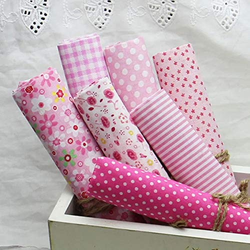 AnMeelin Stoffe Patchwork Stoffpaket, 7 Stück Pink Patchwork Stoffe Paket 49x49cm Baumwollstoff Patchwork für Handtaschen, Geldbörsen, Schürze und Kissen