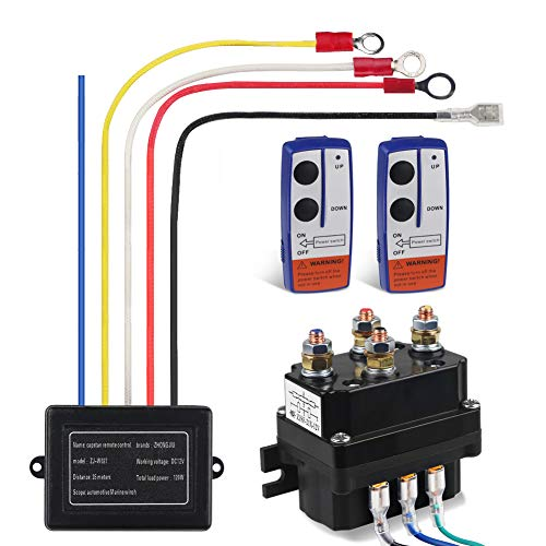 WATERWICH 12V 250A Winch Solenoid Relay Contactor+2pcs Wireless Winch Remote Control Kit with 6 Protecting caps Universal for Truck Jeep ATV SUV 2000-5000lbs Winch