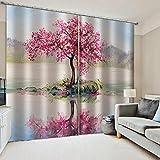 WAFJJ Cortinas Opacas Rosa y árbol de Flores para Habitación con Ojales, Top Calitad Visillos para Salón Dormitorio Tamaño:2x75x166cm(An x Al)