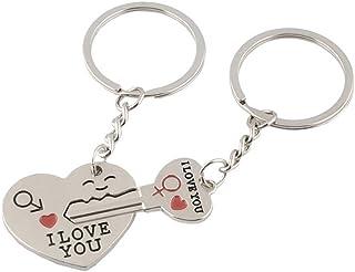 Porte-Cl/é Cl/é et Coeur avec une Fl/èche et I Love You Cha/îne Anneau Accessotech