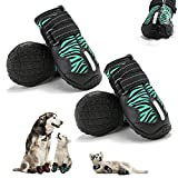 KEIYALOE Small Medium Large Dog Shoes for HotPavement, Waterproof Rain DogBoots Heat Protection Paw Non-Slip Sole Adjustable Reflective Straps Dog Walking Shoes for Indoor Outdoor