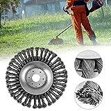 150 mm / 200 mm cône noué fil coupe-herbe coupe-herbe tête, tondeuse à gazon en métal désherbage plateau pour attache débroussailleuse, argent (6 pouces 150 mm)