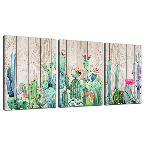 Wall Art for bedroom Canvas Prints Artwork bathroom Wall Decor Green plants Succulent cactus flower Wood grain watercolor painting 12' x 16' 3 Pieces modern Framed Office Home Decorations living room