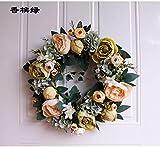 Couronnes De Noël,Couronne De Fleurs Naturelles Créative Européenne Artificielle Pivoine Fleur Éternelle Romantique Couronne De Mariage Cadeaux De Noël Pour Porte Fenêtre Wall Hanging Ornament