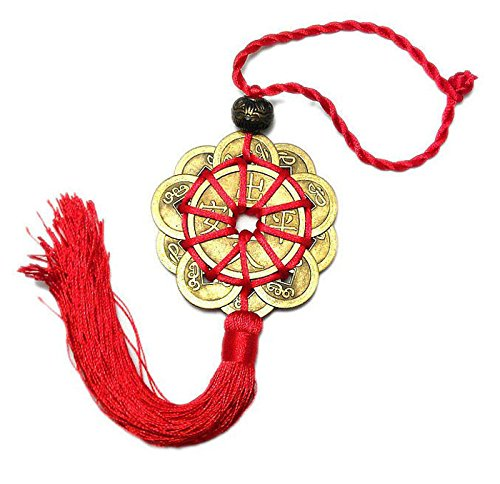 SISHUINIANHUA 10 glück rot chinesisch Knoten feng Shui Set Charme alte Gute glück Auto dekor Ching münzen Prosperity Schutz Auto Ornament
