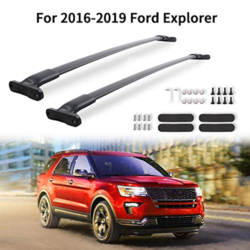 MONOKING Crossbars Cargo Roof Racks Roof Bars Compatible for 2016 2017 2018 2019 Ford Explorer with Side Rails, Durable Aluminum Alloy Rooftop Luggage Cross Bars Max Load 110 LBS