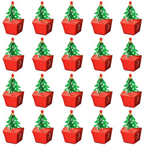 20pcs Scatole Regalo di Natale, Confezione Regalo Mela Albero di Natale Scatole Regalo Natalizio a Forma di Albero di Natale Scatoline per Bambini Natalizie Decorazioni