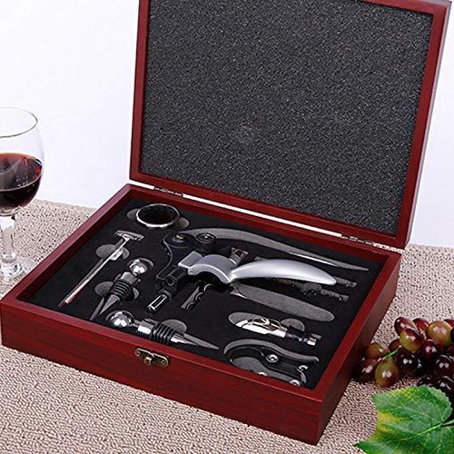 WANGIRL Sacacorchos Abre de Acero Inoxidable para Vino Herramientas de abrelatas de Botellas Profesional Conjunto de Madera Caja de Regalo Tapón Tapón Cutter Cutter Drip Anillo Kit LOLDF1
