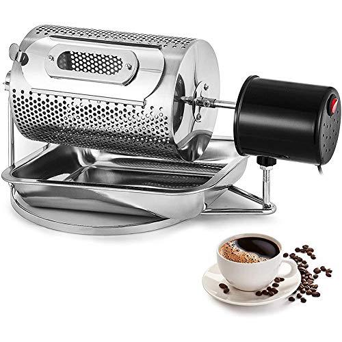 GzxLaY Tostador de Granos de café, Tostador de café eléctrico de Acero Inoxidable Tostador con Bandeja, Rodillo de máquina de Hornear Manual de Granos de café