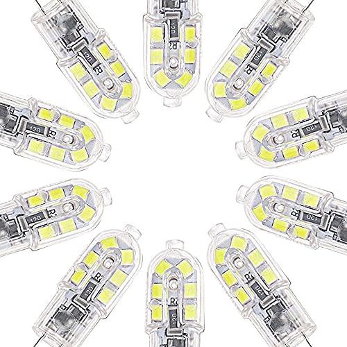 Gmasuber 10 bombillas LED G4 2 W 2835 SMD 12 V blanco frío claro reemplazo de lámpara halógena