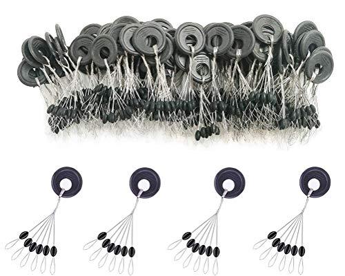 600pcs de goma tapón de corcho de pesca, 6en 1Flotador Sinker paradas, negro Oval Float Detener, Black-Oval