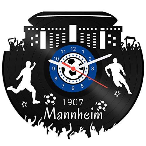 GRAVURZEILE Schallplattenuhr Mannheim - 100% Vereinsliebe - Upcycling Design Wanduhr aus Vinyl Made in Germany