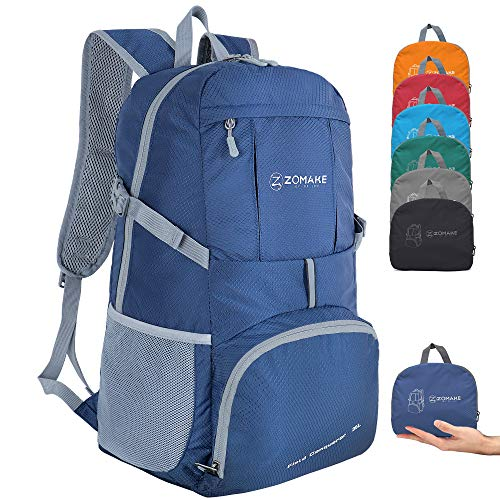 ZOMAKE Lightweight Foldable Backpack 35L, Water Resistant Rucksack, Unisex Nylon Daypack for Travel Hiking Cycling Outdoor Sport (Navy Blue)