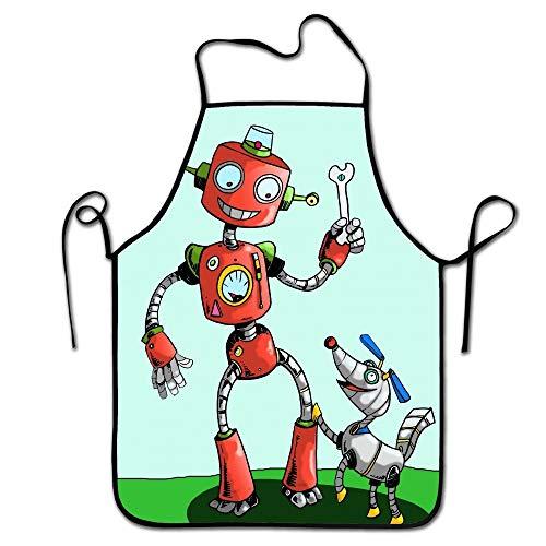 N\A Verstellbarer Küchenchef Schürze-Roboter und Hund Kommerzielle Männer & Frauen Latzschürze zum Kochen, Backen, Basteln, Gartenarbeit, Grillen