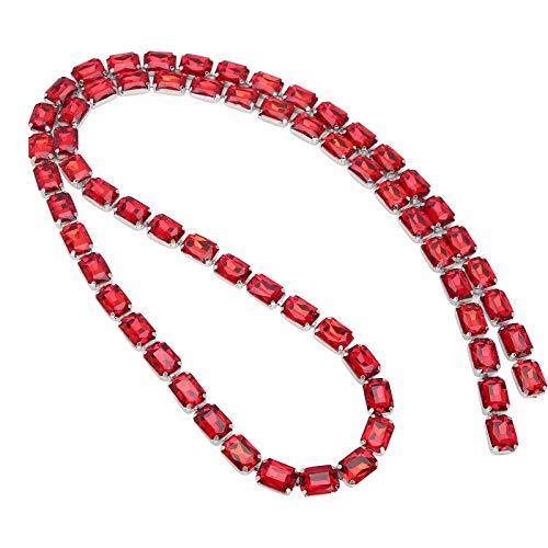 Jingyig Cadena de Garra de Vidrio, Manualidades de decoración de Bricolaje Brillante, Adorno de Cadena de Garra de Vidrio, 1 Metro / 3,3 pies para decoración navideña,(Big Red)