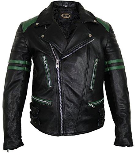 MDM Retro Motorrad Lederjacke 80´s Oldschool erhältlich (3XL, schwarz/grün)