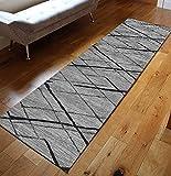 GJIF Tappeto Corridore per Corridoio, Geometria, Moquette, Camera da Letto, Pavimento Antiscivolo, Design Moderno per Corridoio/Cucina/Scale, Larghezza 60cm/ 80cm/ 90cm/ 100cm/ 120(Size:60x400cm)