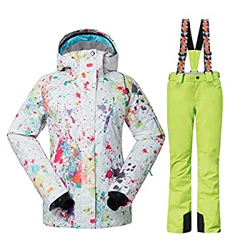 Women s Fashion High Windproof Waterproof Snowsuit Colorful Printed Ski Jacket Pants …