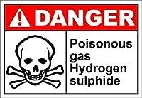 レトロなビンテージスタイルのサイン-通知サイン有毒ガス硫化水素の危険、公園のサインパークガイド警告サイン私有財産のための金属屋外の危険サイン