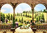 wandmotiv24 Fototapete Mediterraner Garten M 250 x 175 cm - 5 Teile Fototapeten, Wandbild, Motivtapeten, Vlies-Tapeten Blume,Terrasse, Balkon M1239
