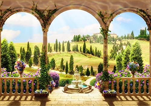 wandmotiv24 Fototapete Mediterraner Garten , XL 350 x 245 cm - 7 Teile, Fototapeten, Wandbild, Motivtapeten, Vlies-Tapeten, Blume,Terrasse, Balkon M1239