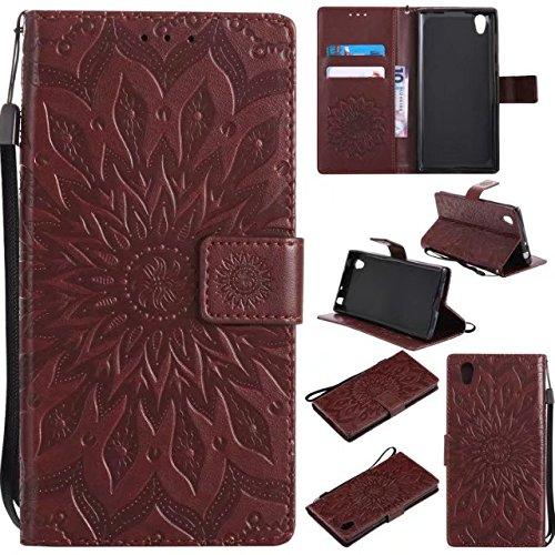 Aralinda Sun Flower Printing - Funda de piel sintética tipo cartera con soporte para tarjetas, compatible con Sony Xperia L1 / Sony Xperia E6 (color: marrón)