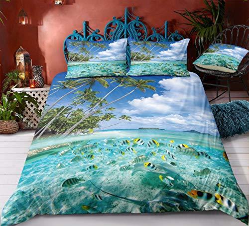 Fansu Bettbezug Bettwäsche Set 3 teilig, Mikrofaser 3D Meer Ozean Bedrucktes Bettwäsche-Set Kopfkissenbezug Bettbezug mit Reißverschluss Schließung (135x200cm-2pcs,Tropischer Fisch)