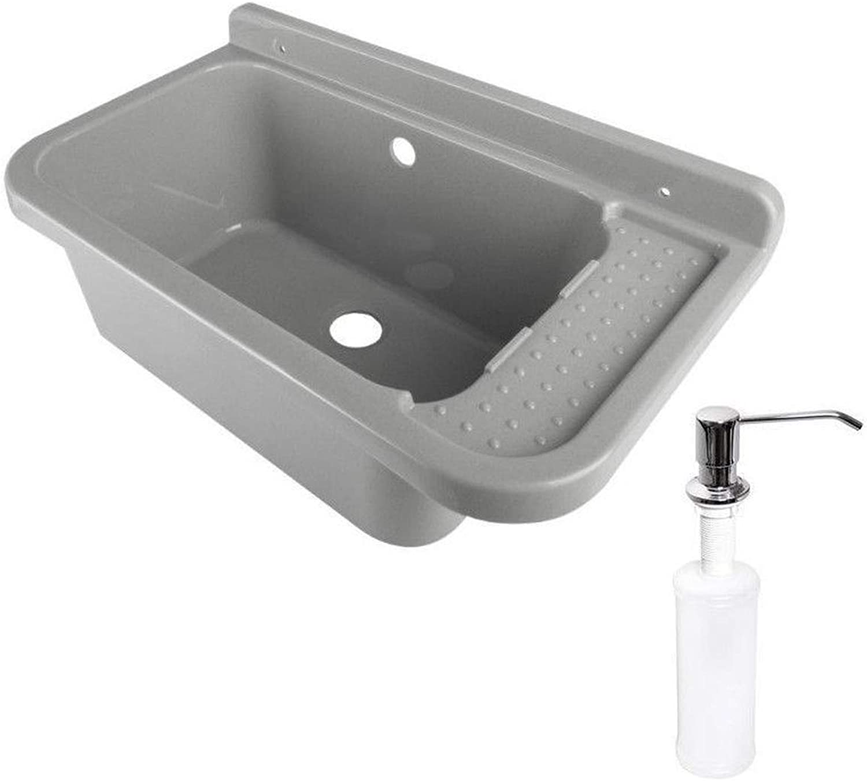 Wash Basin Sink 50 cm x 34 cm x 21 cm with Overflow for Commercial Washroom Garden Soap Dispenser Fittings Including Drain Graniture, Grey