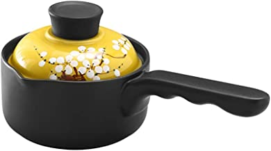Saucepan Coating Small Pot Ceramic Sauce Pan Milk Pan Cooking Pot for Soup, Stew, Sauce, Pasta & Reheat Food (Color : Yellow)