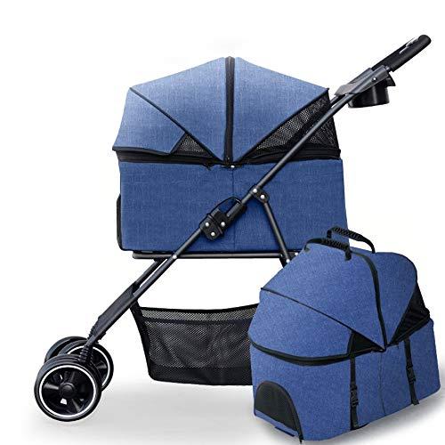 ペットカート 犬用カート バッグ分離可能 猫犬兼用 振動軽減 前輪360°回転 後輪ブレーキ付き 飛び出し防止 折畳可能 耐荷重約25kg (ネイビー)
