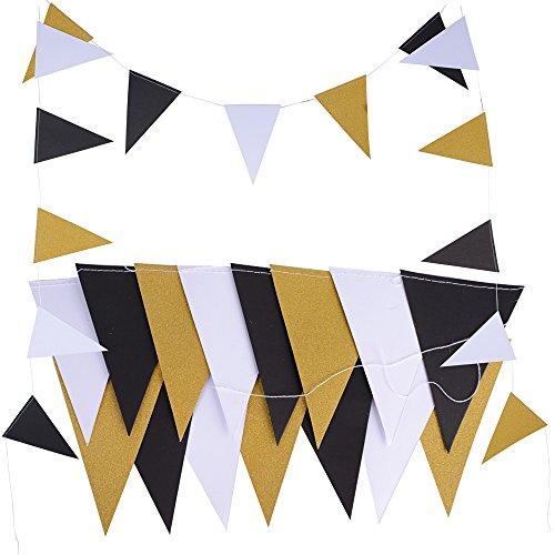 5M 30pcs Banderas Guirnaldas Papel Triángulo Negro Blanco Dorado Multicolor para Decoración Colgante de Fiesta Boda Cumpleaños Hogar Arbol (2 cadena * 2,5M) (Negro Blanco Dorado)