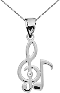 diamond musical note necklace