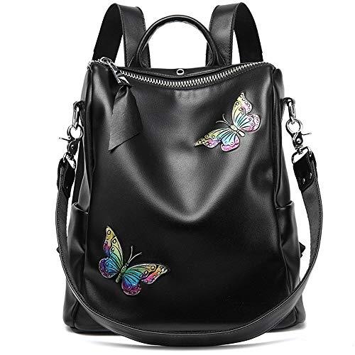 Y-XM Sac à Dos d'affaires Sac en Cuir imperméable Impression Papillon Vachette Multifonction Double épaule 29 * 16 * 29 cm