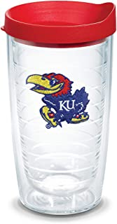 Tervis Kansas Jayhawks Logo Tumbler with Emblem and Red Lid 16oz, Clear