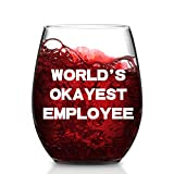 Modwnfy World's Okayest Employee Stemless Wine Glass, Novelty Employee Wine Glass for Men Women Friend Family Coworker, Office Gift Idea for Bosses Day Birthday Christmas Leaving Job, 15 Oz