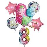 HAIBOMY Globo Estilo de lámina de Hadas con 32 Pulgadas de Arco Iris Número de Globo Helio Set de Globo de Baby Shower Girls Princess Decoraciones de Fiesta de cumpleaños (Color : 8)