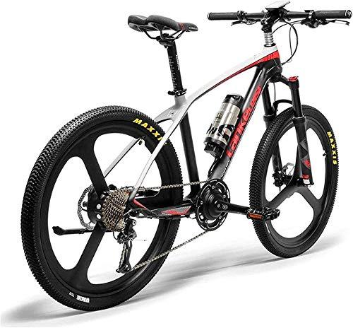 Bicicleta Eléctrica Plegable Bicicleta eléctrica de nieve, 26 '' Bicicleta eléctrica Marco de fibra de carbono 300W Bikes de montaña Sistema de sensor de torque Sistema de aceite y gas Lockable Suspen