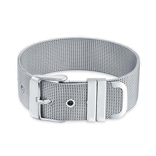 Bling Jewelry La Hebilla del Cinturón De Malla Ancha Pulsera para Hombres Y para Mujer En Tono Plateado Ajustable De Acero Inoxidable